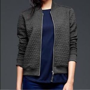 GAP Charcoal Soft Quilted Bomber Jacket Sz XS